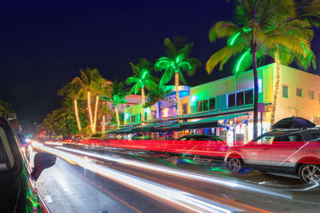 Night view of Ocean Drive in Miami Beach
