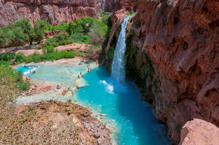Havasu Falls - blue waterfalls in the Grand Canyon, Arizona