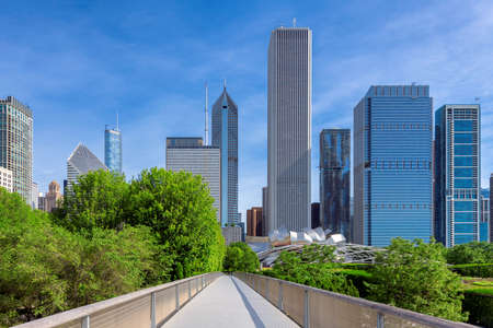 Chicago skyline at sunny day, Millennium park, Chicago, Illinois, USA 免版税图像
