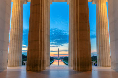 Sunrise view at Lincoln Memorial in Washington DC, USA 免版税图像