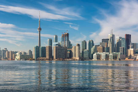 Toronto skyline with CN Tower over Ontario Lake, Toronto, Canada