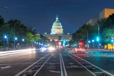 Washington DC at night. Night view of Capitol Building from Pennsylvania Avenue, Washington DC, USA