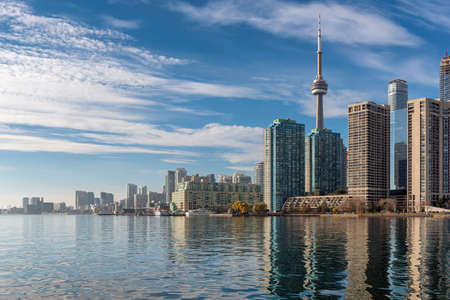Skyline of Toronto with CN Tower over Ontario Lake, Canada