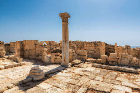 Ancient columns in ruins of ancient Kourion. Limassol District. Cyprus