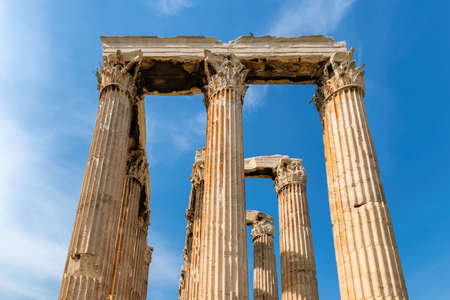 Ancient pillars of Temple of the Olympian Zeus in Athens, Greece.