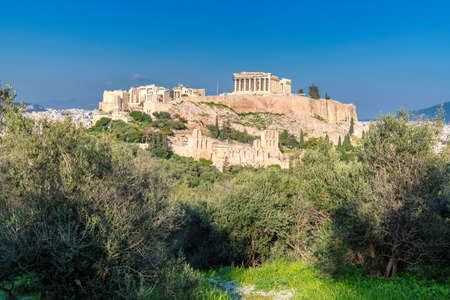 The Parthenon Temple at the Acropolis of Athens, Greece 免版税图像