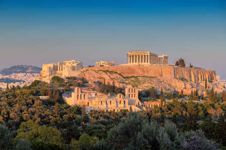 Sunset at the Parthenon Temple at the Acropolis of Athens, Greece