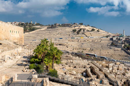 The Jerusalem Old city wall and view of the Mount of Olives in Jerusalem, Israel.