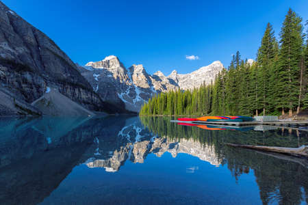 Sunrise over Moraine lake in the Rocky Mountains, Banff National Park, Canada.