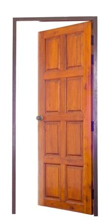 Opened wood door isolated on white Stock Photo
