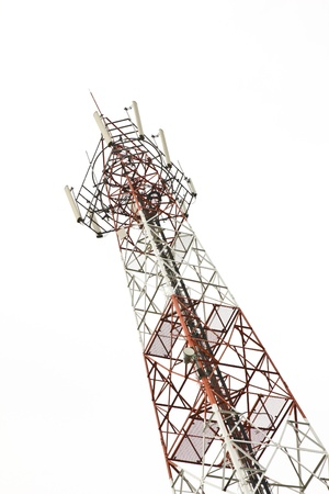 radio frequency: Mobile phone communication tower isolated on white