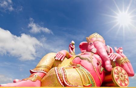 chachoengsao: Pink ganecha statue in relaxing at Wat Samarn, Chachoengsao, Thailand