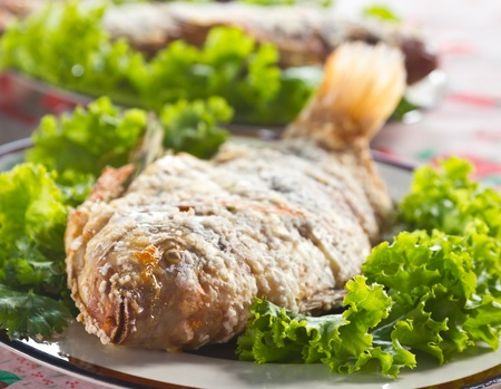 Fried fish and green fresh vegetables