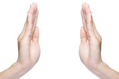 mains ouvertes: Deux belle main f�minin isol� sur blanc Banque d'images