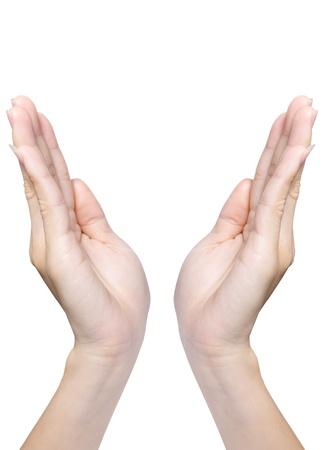hands open: Hermosas manos femeninas aislados en blanco Foto de archivo
