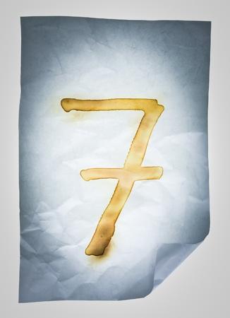 sever: Burned number sever on Crumpled paper