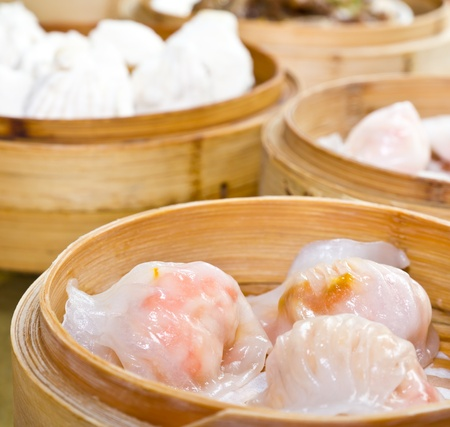 dim: Dim Sum in bamboo steamer,Chinese food style Stock Photo