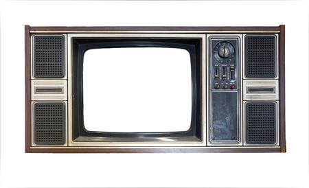 Old vintage TV isolated on white background photo