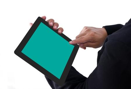 Businessman show a tablet pc Stock Photo - 10761268