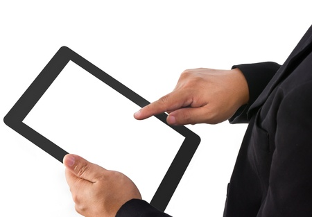 Businessman show a tablet pc photo