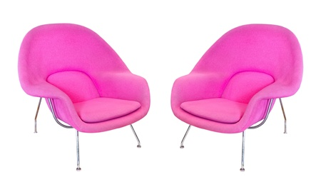Two pink modern armchair  isolated on white background photo