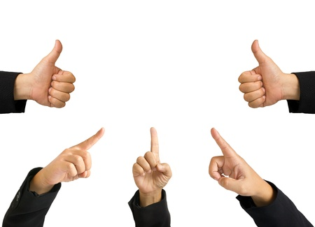 Group of business hands made like and  pointing symbol photo