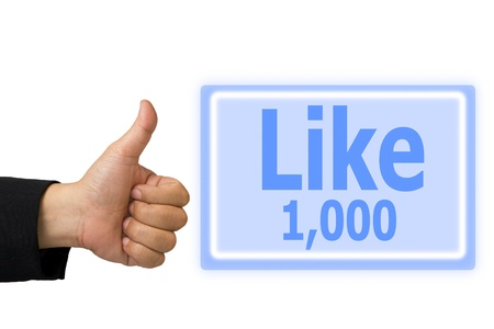 Business hand made like symbol hand and  button like 1,000  time Stock Photo