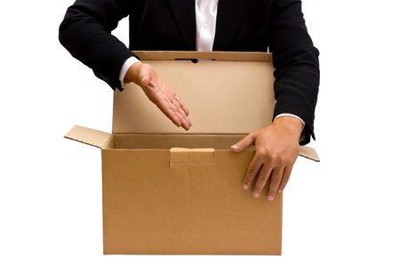 Businessman want to present something in the cardboard box photo