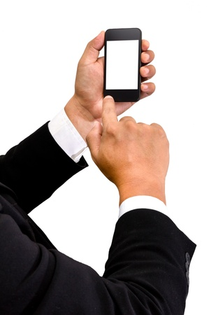 Businessman touch smart phone in hand on white backgroud Stock Photo
