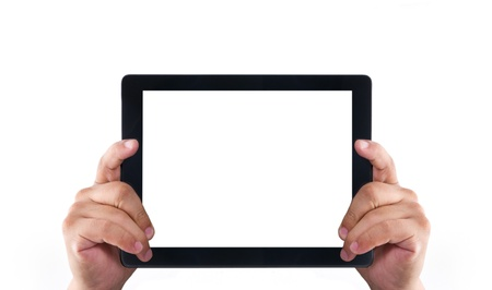 Hands holding for showing a tablet pc isolated on white