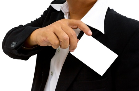Business man presenting his business card in hand photo