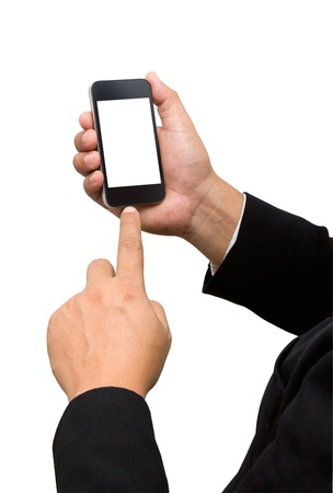 backgroud: Businessman touch smart phone in hand on white backgroud Stock Photo