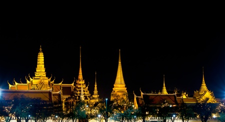 Wat Phra Kaew in the night at bangkok of thailand