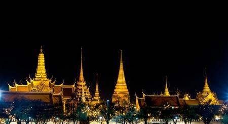grand palace: Wat Phra Kaew in the night at bangkok of thailand