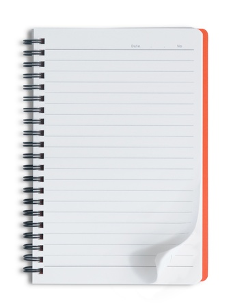 Blank orange notebook on white background photo