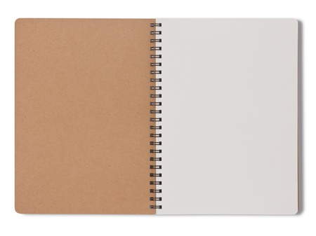 Blank notebook make from recycle paper on white background photo