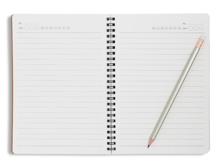 Notebook and pencil isolated on white background Stock Photo