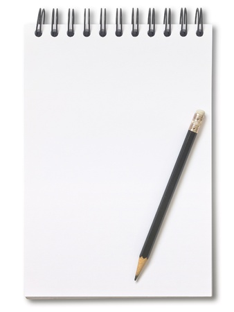 Notebook and pencil isolated on white background photo