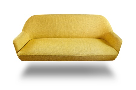 luxurious sofa: Yellow fabric sofa isolated and shadow on white background