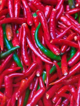 Red and green chili for background photo