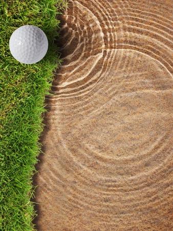 Golf ball on fresh green grass near water bunker in golf course Stock Photo - 12745980
