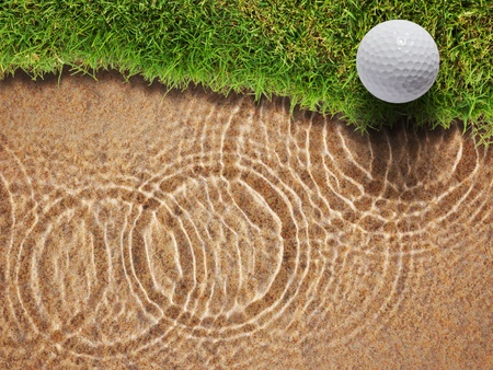 Golf ball on fresh green grass near water bunker in golf course Stock Photo - 12734889