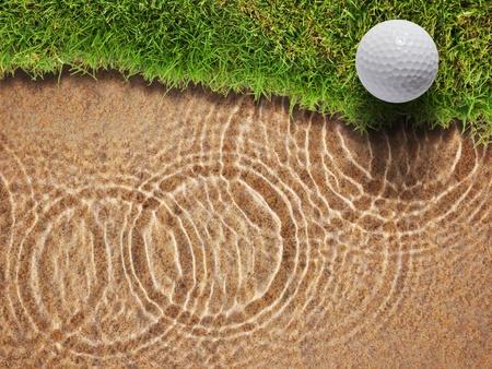 Golf ball on fresh green grass near water bunker in golf course Stock Photo - 12734889