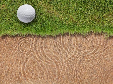 Golf ball on fresh green grass near water bunker in golf course Stock Photo - 12734894