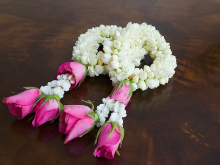 Garland of jasmine flowers on the table