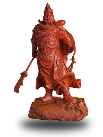 Wood carved Of Guan Yu in chinese temple isolated on white with cliping path