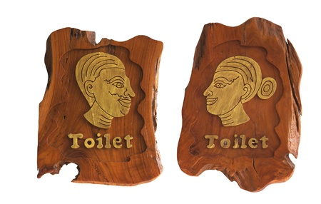 Wooden Men and Women of toilet sign isolated on white Stock Photo - 13033059