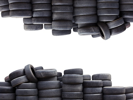 Old car tires isolated on white background Stock Photo - 14717310