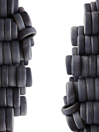 Old car tires isolated on white background photo