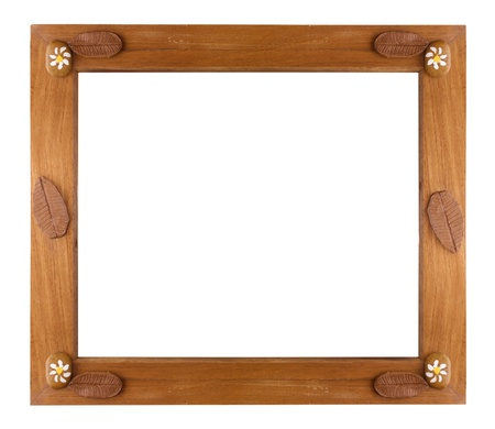 Wooden frame Isolated on white photo